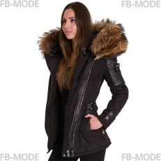 BELUCCI-75 BELLUCCI-75 Ventiuno women down jacket with lamb leather patches and real fur hood collar