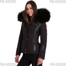 Ventiuno women down jacket with lamb leather patches and real fur hood collar