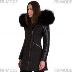 SYLVIA Ventiuno doudoune femme bi-matière cuir d'agneau noir et fourrure véritable noir