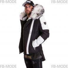 FLAVIYU Ventiuno doudoune homme bi-matière cuir d'agneau blanc et fourrure véritable blanche