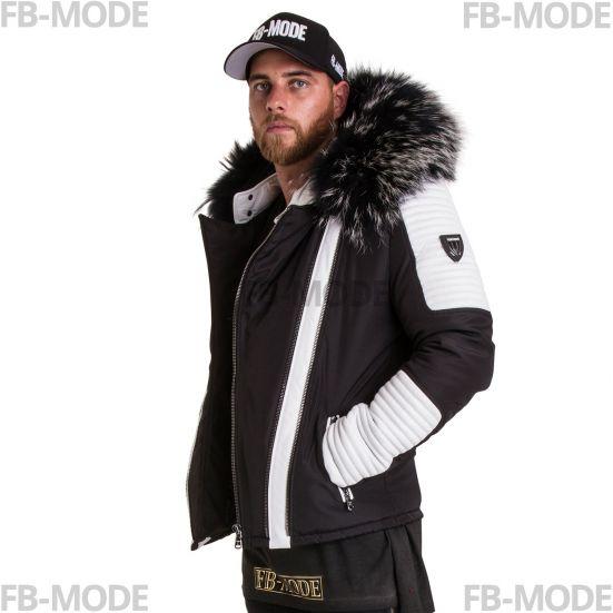 27a55a8d698b9 FLAVIYU Ventiuno doudoune homme bi-matière cuir d agneau blanc et fourrure  véritable argenté ...