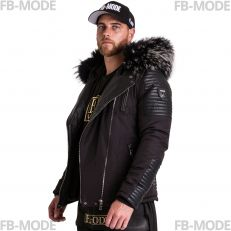 STAR-21 Ventiuno men's down jacket with lamb leather patches and genuine hood collar fur