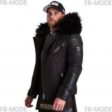 EKOS EKOS Ventiuno men's down jacket with lamb leather patches and genuine hood collar fur