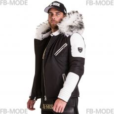 EKOS Ventiuno men's down jacket with lamb leather patches and genuine hood collar fur