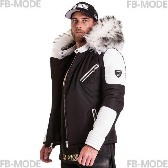 EKOS Ventiuno doudoune homme bi-matière cuir d agneau blanc et fourrure  véritable blanche f4b04990058