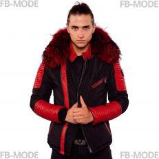EKOS Ventiuno doudoune homme bi-matière cuir d'agneau rouge et fourrure véritable rouge