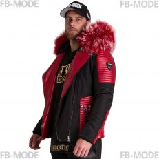 MASERATI - MAZERATI - MASERATI - MAZERATTI Ventiuno men's down jacket with lamb leather patches and genuine hood collar fur