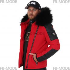 MODENA Ventiuno men's down jacket with lamb leather patches and genuine hood collar fur