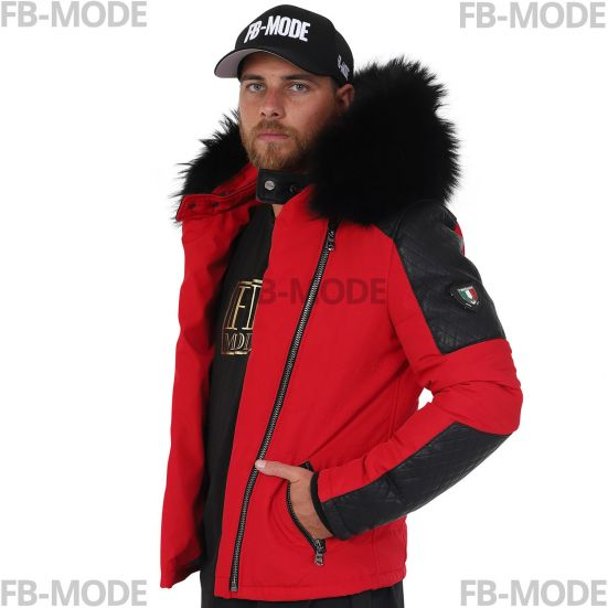 02af3108e7e25 MODENA Ventiuno doudoune homme bi-matière cuir d agneau rouge et fourrure  véritable rouge