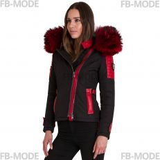 BELUCCI - BELLUCCI Ventiuno doudoune femme bi-matière cuir d'agneau rouge et fourrure véritable rouge