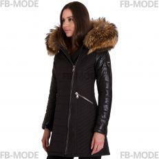SYLVIA Ventiuno women down jacket with lamb leather patches and real fur hood collar