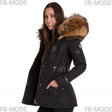 FIORELLA Ventiuno women down jacket with lamb leather patches and real fur hood collar