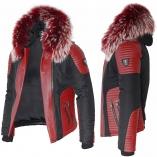 Ventiuno MASERATI Veste Doudoune Bi-matière rouge fourrure véritable rouge mèches blances taille MAX - cuir d'agneau rouge