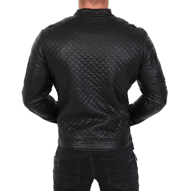 veste homme raphael motard en simili cuir noir avec doublure fourrure blouson simili cuir