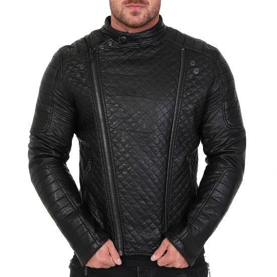 veste homme raphael motard en simili cuir noir avec doublure fourrure blouson simili cuir. Black Bedroom Furniture Sets. Home Design Ideas