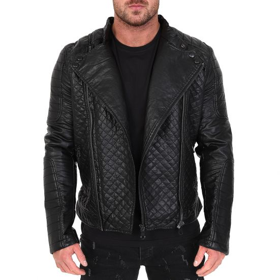 bas prix 59feb a851f Veste homme Raphael motard en simili cuir noir avec doublure fourrure -  blouson simili cuir