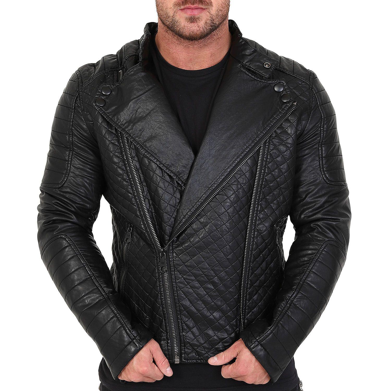 7191d4630bb15 Veste homme Raphael motard en simili cuir noir avec doublure fourrure -  blouson simili cuir