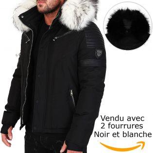 Veste doudoune homme hiver homme ALPHA 3382 Bi-matière noir-blanc - mega fourrure