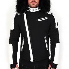 Veste doudoune homme hiver ALPHA-27Z Bi-matière blanc - avec col mega fourrure inclus noir