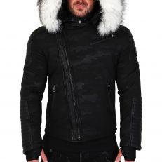 Veste doudoune homme hiver ALPHA-25Z Bi-matière noir - avec col mega fourrure inclus blanc