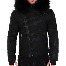 Veste doudoune homme hiver ALPHA-25Z Bi-matière noir - avec col mega fourrure inclus noir