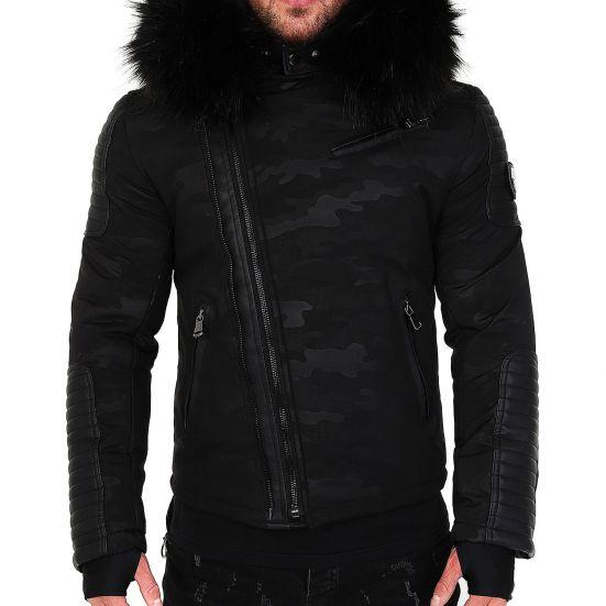 Veste doudoune homme hiver homme ALPHA 3382 Bi-matière noir-blanc - mega  fourrure ... ec2dc71c2f9