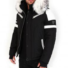 Veste doudoune homme hiver FURY-3382 Bi-matière blanc - avec col mega fourrure inclus blanc