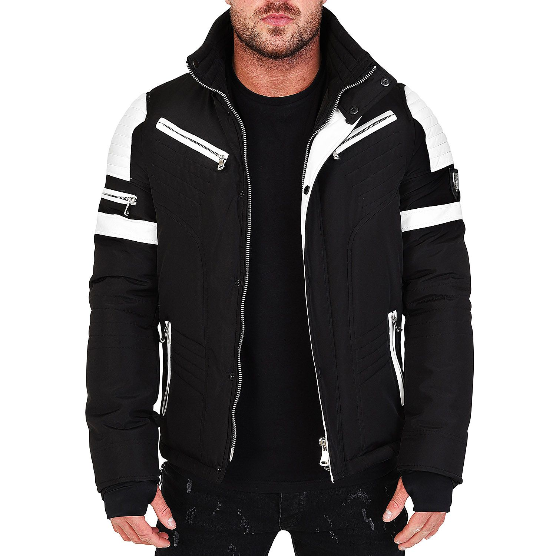 Veste doudoune homme hiver homme ALPHA 3382 Bi-matière noir-blanc cbb934122139