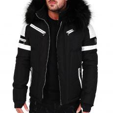 Veste doudoune homme hiver FURY-3382 Bi-matière blanc - avec col mega fourrure inclus noir