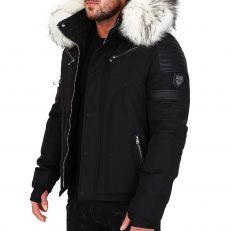 Veste doudoune homme hiver FURY-3382 Bi-matière noir - avec col mega fourrure inclus blanc