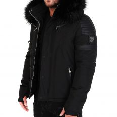 Veste doudoune homme hiver FURY-3382 Bi-matière noir - avec col mega fourrure inclus noir