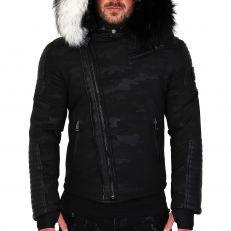 Veste doudoune homme hiver ALPHA-25Z Bi-matière noir - avec 2 col mega fourrure inclus noir et blanc