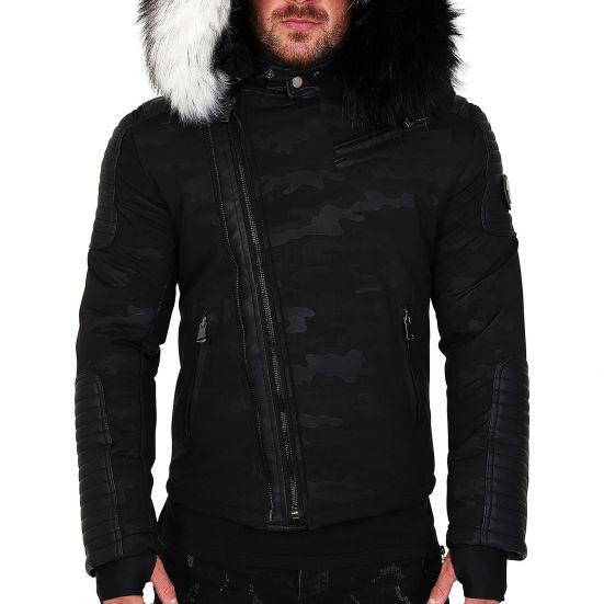 grand choix de c4094 38711 Veste doudoune homme hiver ALPHA-25Z Bi-matière noir - avec 2 col mega  fourrure inclus noir et blanc