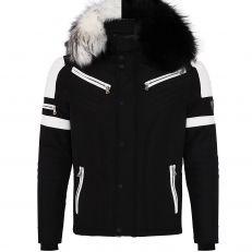 Veste doudoune homme hiver FURY-3382 Bi-matière blanc - avec 2 col mega fourrure inclus noir et blanc