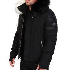 Veste doudoune homme hiver FURY-3382 Bi-matière noir - avec 2 col mega fourrure inclus noir et blanc