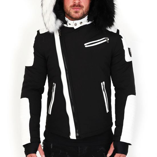 Veste doudoune homme hiver FURY-3382 Bi-matière noir - avec col mega fourrure inclus