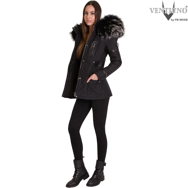 fiorella ventiuno doudoune femme bi mati re cuir d 39 agneau et fourrure v ritable silver. Black Bedroom Furniture Sets. Home Design Ideas