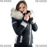 BELUCCI - BELLUCCI Ventiuno doudoune femme bi-matière cuir d'agneau Or et fourrure véritable marron