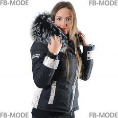 EMILY - SOFIA Ventiuno doudoune femme bi-matière cuir d'agneau python et fourrure véritable silver