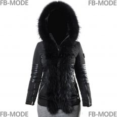 GIA Ventiuno women down jacket with lamb leather patches and real fur hood collar