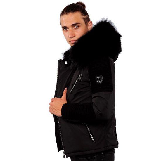 4dba804ed79 EKOS Ventiuno doudoune homme bi-matière cuir d agneau noir et fourrure  véritable marron ...