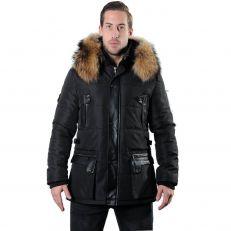 MORATO Ventiuno doudoune homme bi-matière cuir d'agneau noir mi-longue et fourrure véritable marron