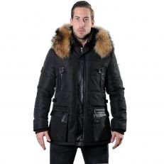 MORATO Ventiuno men's down jacket with lamb leather patches and genuine hood collar fur