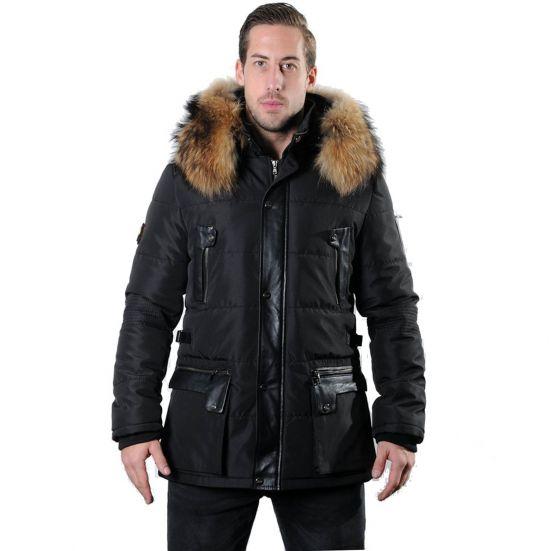 MORATO Ventiuno doudoune homme bi matière cuir d'agneau noir mi longue et fourrure véritable marron