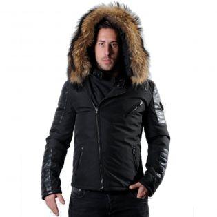 EKOS Ventiuno doudoune homme bi-matière cuir d'agneau noir et fourrure véritable marron