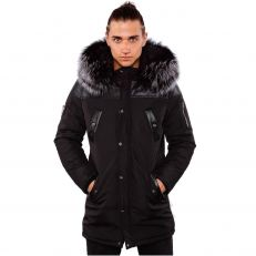 JAGUAR Ventiuno men's down jacket with lamb leather patches and genuine hood collar fur