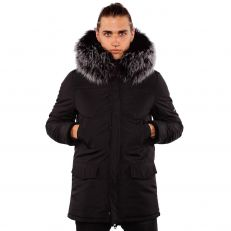 ALASKA Ventiuno men long down jacket 3/4 with geniune fur collar hood