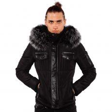 Ventiuno doudoune homme bi-matière cuir d'agneau noir et fourrure véritable silver