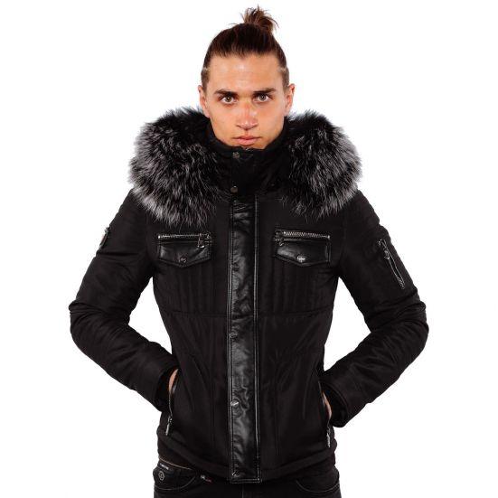 Ventiuno doudoune homme bi matière cuir d'agneau noir et fourrure véritable silver