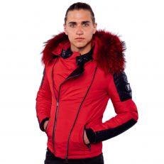 BROCK Ventiuno doudoune rouge homme bi-matière cuir d'agneau noir et fourrure véritable rouge